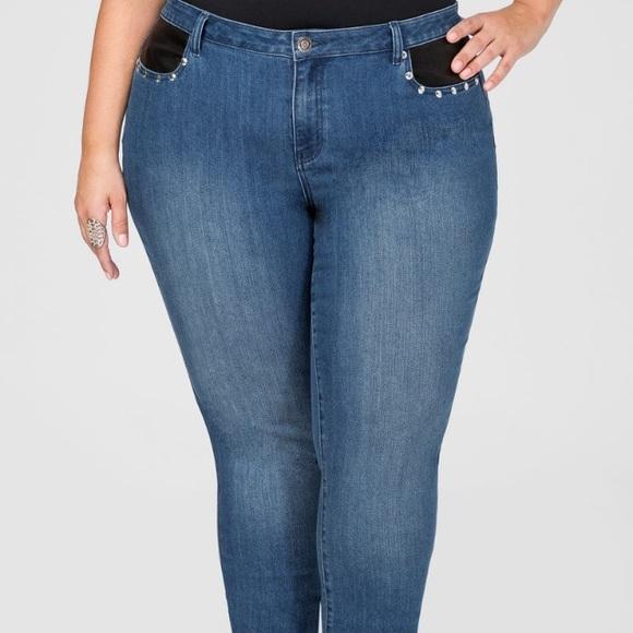 b263a91d3f787 Ashley Stewart Jeans | Faux Leather Trim Skinny Jean Sz 18 | Poshmark